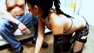 Latex boots girl treated like a whore by two big dick guys